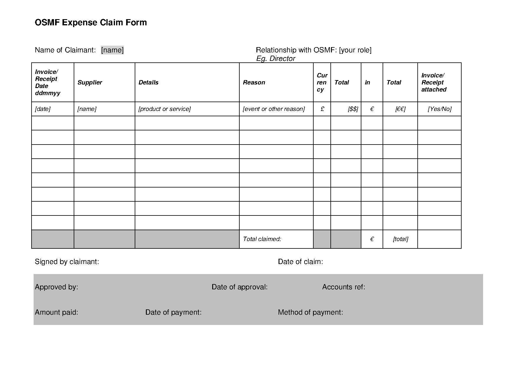 Claim Form In Pdf | File Osmf Expenses Claim Form V1 1 Pdf Openstreetmap Foundation