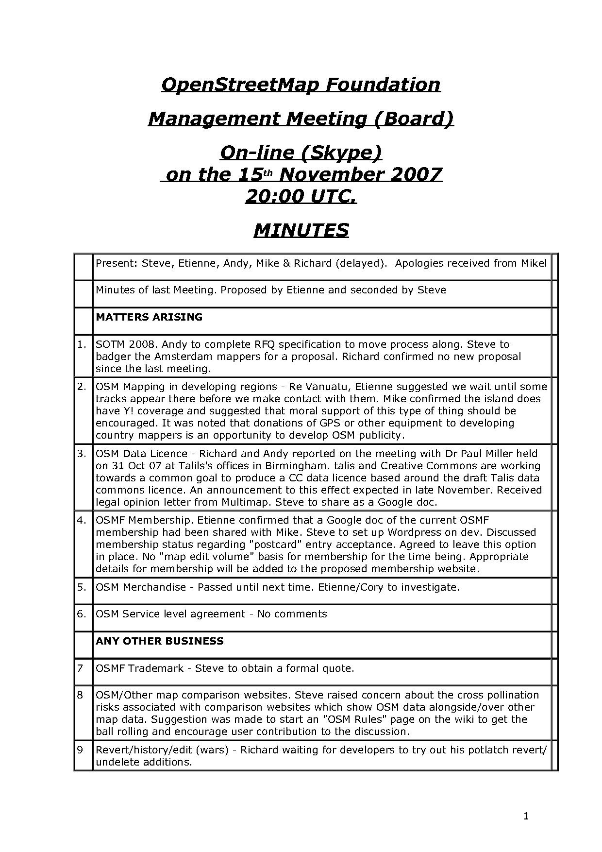 OSMF Board Meeting Minutes 2007-11-15