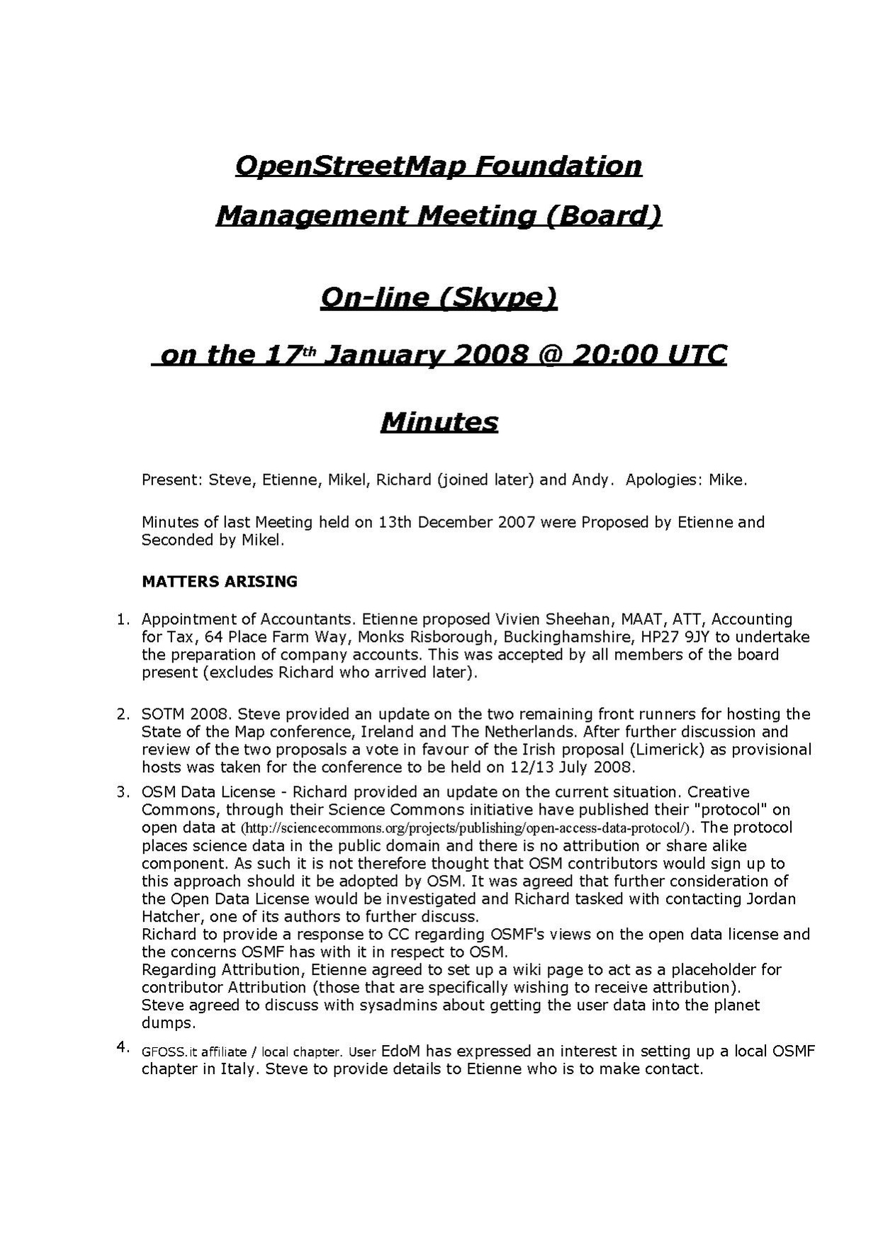 OSMF Board Meeting Minutes 2008-01-17
