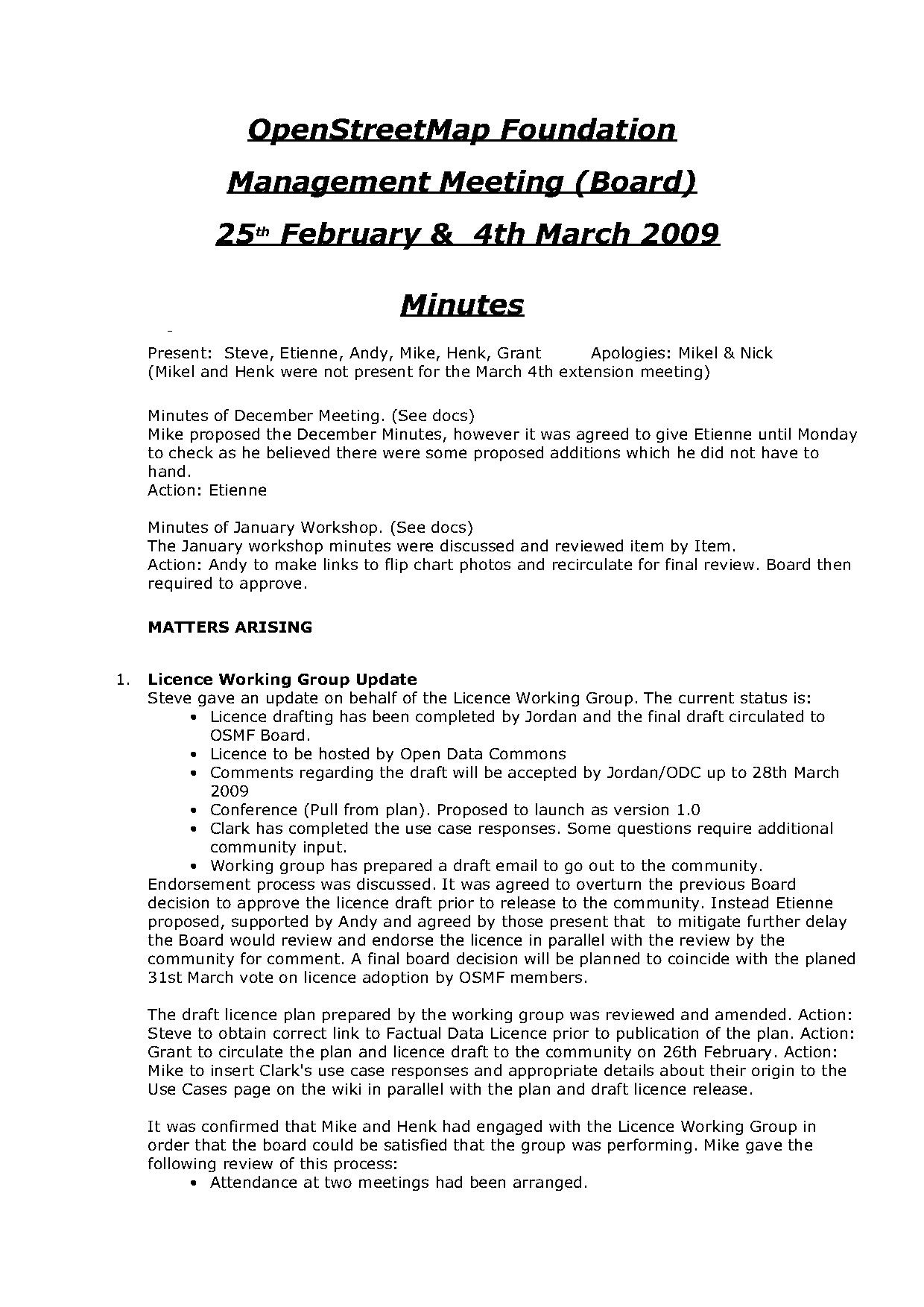 OSMF Board Meeting Minutes 2009-02-25