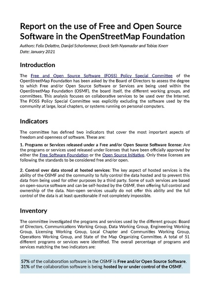 File:FOSS policy special committee - Report on FOSS use in OSMF 2021-01.pdf