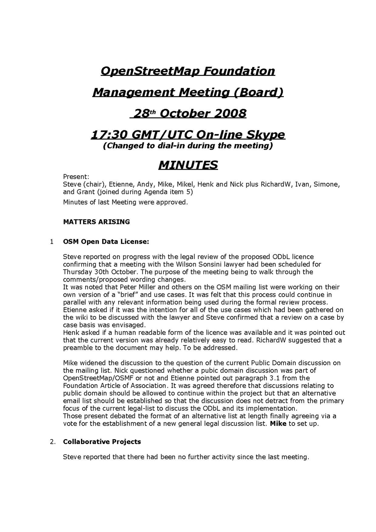 OSMF Board Meeting Minutes 2008-10-28